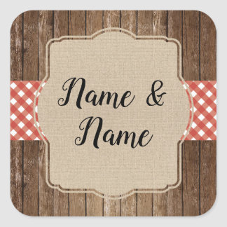 Stickers Wedding Labels Red Gingham BBQ Burlap