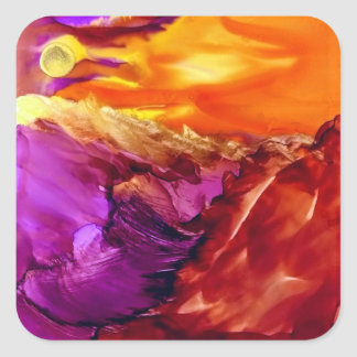 stickers with abstract sunset landscape