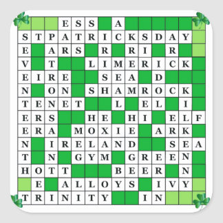 Stickers with St Patrick's Day Crossword Design