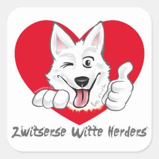 Stickers with Swiss white shepherd Thumb Up