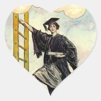 STICKERSGraduation Lady Ladder of Success Heart Heart Sticker