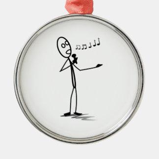 Stickman Singing Metal Ornament