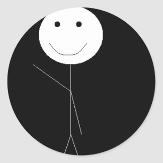 Stickman Waving Classic Round Sticker
