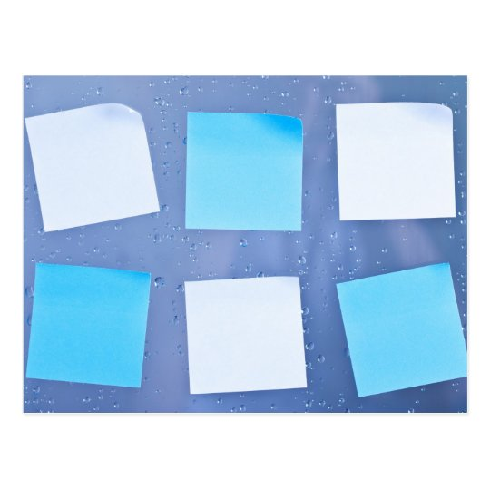 Sticky notes in bathroom postcard