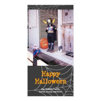 Sticky spider web black orange Halloween greeting Card
