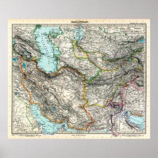 Stielers Handatlas Map of Iran & Turan (1891) Poster