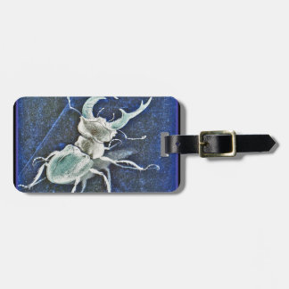 Stiff Competition Blue Stag Beetle Luggage Tag