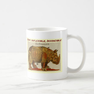 Stiff, Inflexible, Invincible rhino  brown.jpg Coffee Mug