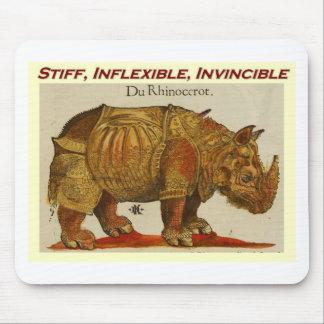 Stiff, Inflexible, Invincible rhino  brown.jpg Mouse Pad