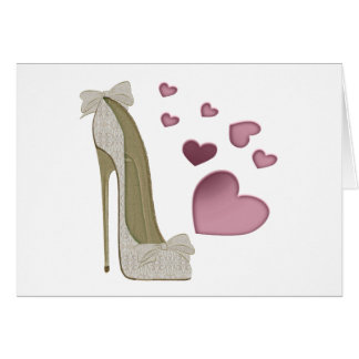 Stiletto and Pink Hearts Art Card