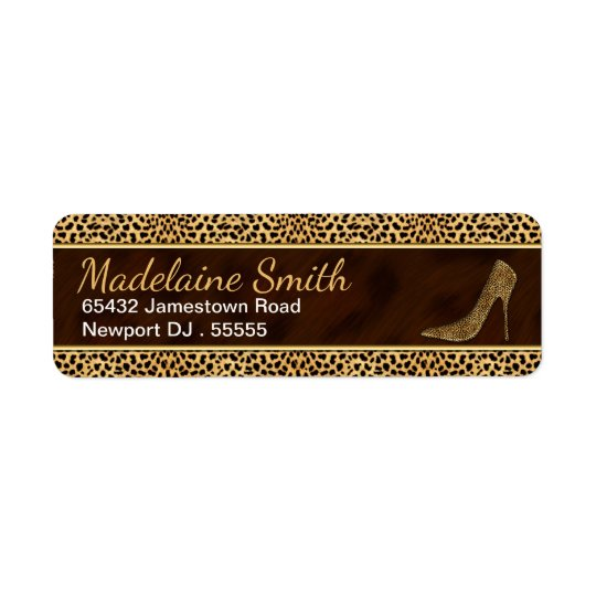 Stiletto with Cheetah Print Wild Cat Theme Return Address Label