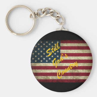 Still God's Country American Flag Basic Round Button Keychain
