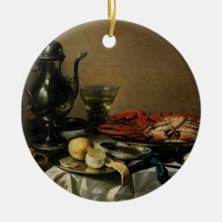 Still Life, 1643 (oil on panel) Round Ceramic Ornament