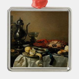Still Life, 1643 (oil on panel) Silver-Colored Square Ornament