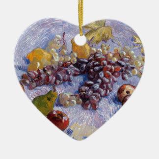 Still Life: Apples, Pears, Grapes - Van Gogh Ceramic Heart Ornament