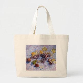 Still Life: Apples, Pears, Grapes - Van Gogh Large Tote Bag