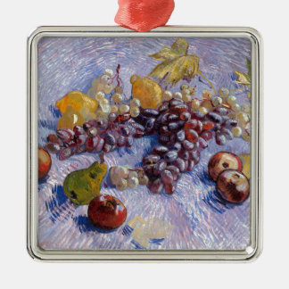 Still Life: Apples, Pears, Grapes - Van Gogh Silver-Colored Square Ornament