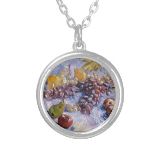 Still Life: Apples, Pears, Grapes - Van Gogh Silver Plated Necklace