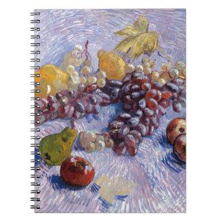 Still Life: Apples, Pears, Grapes - Van Gogh Spiral Notebook