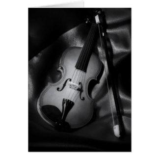 Still-life b&W image of a violin Card