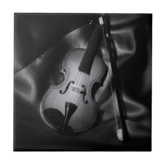 Still-life b&W image of a violin Ceramic Tiles