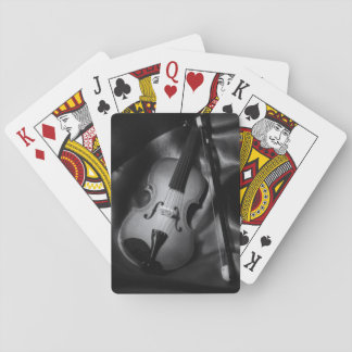 Still-life b&W image of a violin Poker Deck