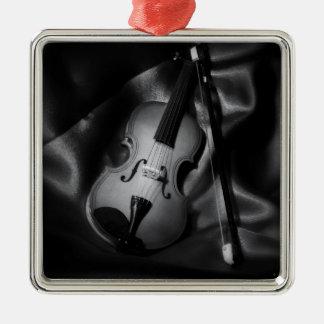Still-life b&W image of a violin Silver-Colored Square Ornament