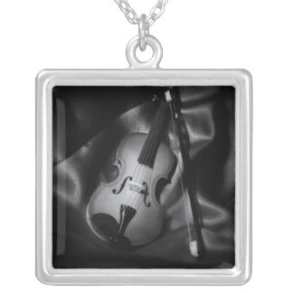 Still-life b&W image of a violin Silver Plated Necklace