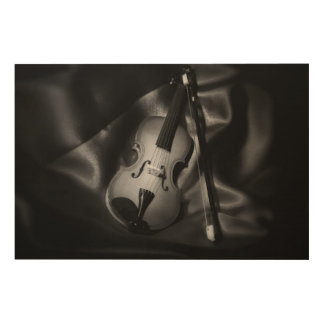 Still-life b&W image of a violin Wood Canvases