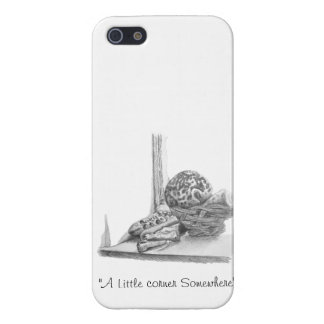 Still life drawing of sea shells, pebbles & basket iPhone 5/5S cases