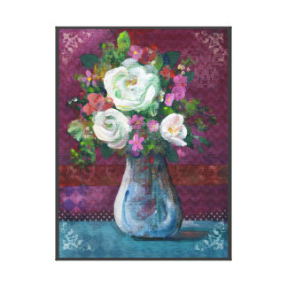 Still Life Floral, White Peonies Canvas Print