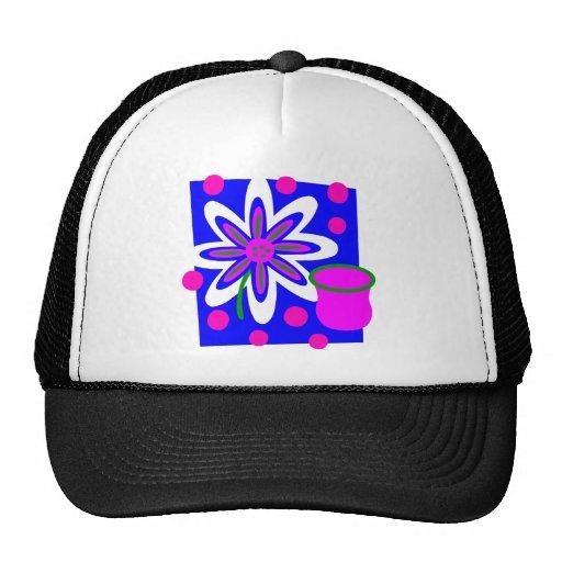 Still Life Flower And Vase, Fuchsia & Deep Blue Trucker Hats