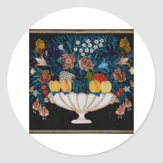 Still Life—Flowers and Fruit in White and Pink Bow Classic Round Sticker