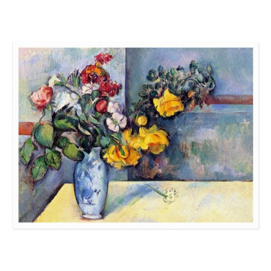 Still Life Flowers in a Vase by Paul Cezanne Postcard