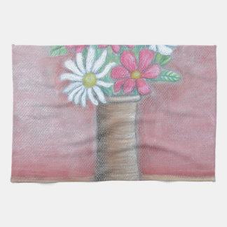still life flowers kitchen towel