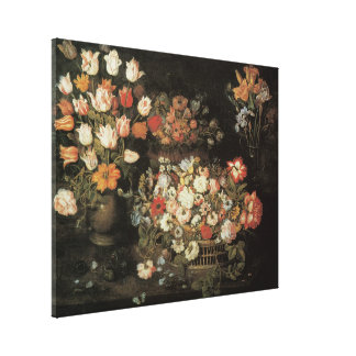 Still Life Flowers, Vintage Floral Baroque Canvas Print