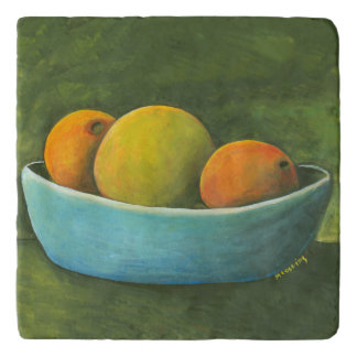 Still Life Fruit Bowl Oranges Grapefruit Trivet