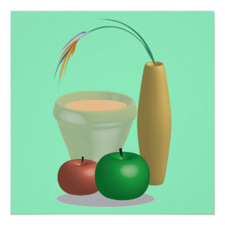 Still life Illustration of Cup, Vase and apples Poster