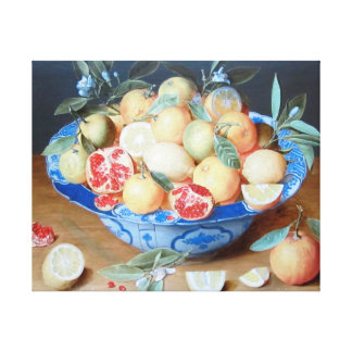Still Life Lemons Oranges Pomegranate Flemish Canvas Print