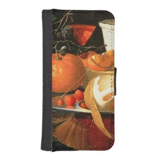 Still life of an orange iPhone 5 wallet case