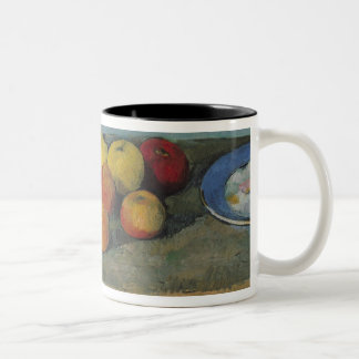 Still life of apples and biscuits, 1880-82 mugs