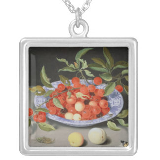 Still Life of Cherries and Peaches Silver Plated Necklace
