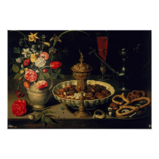 Still Life of Flowers and Dried Fruit, 1611 Poster