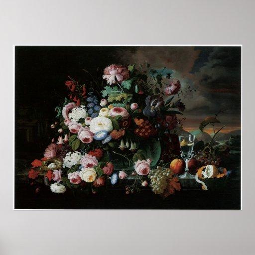 Still Life of Flowers & Fruit 1867 Poster