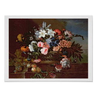 Still Life of Flowers in a Basket Poster