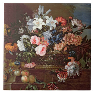 Still Life of Flowers in a Basket Tile