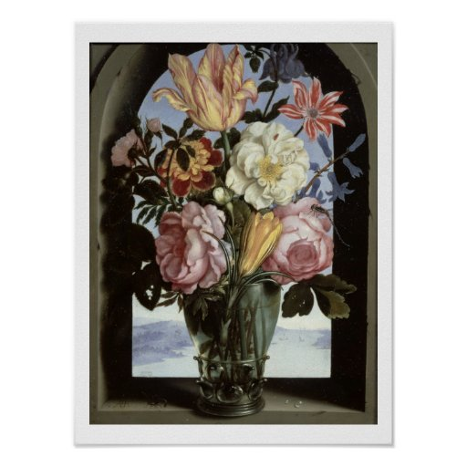 Still life of flowers in a drinking glass poster