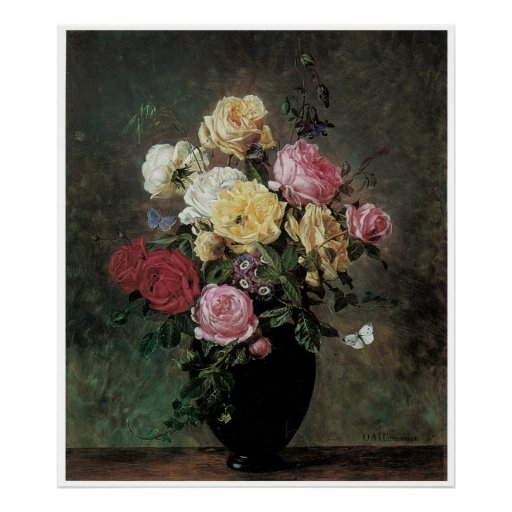 Still Life of Flowers in a vase, 1875 Poster