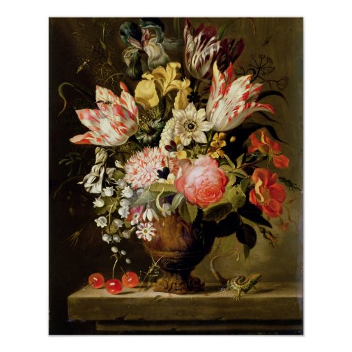 Still Life of Flowers in a Vase with a Lizard on a Posters