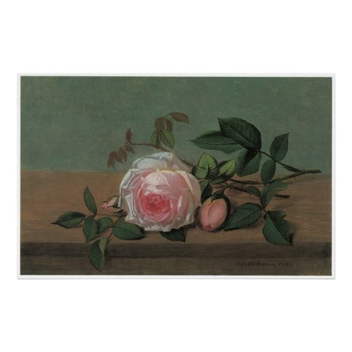 Still Life of Flowers on a Ledge, 1860 Poster